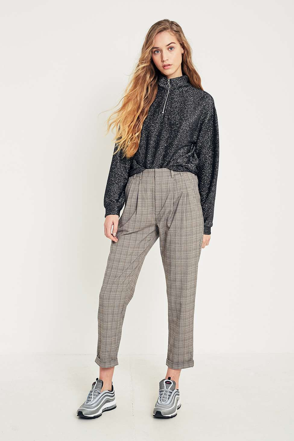 Light Before Dark Brown Check Pleated Front Trousers, Brown