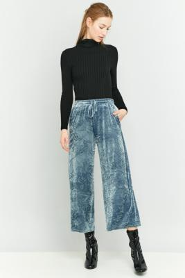 Light Before Dark Blue Crackle Velvet Wide Leg Trousers Sky