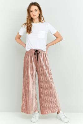 Light Before Dark Velvet Plisse WideLeg Trousers Pink