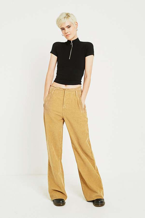 Slide View: 1: BDG Puddle Light Brown Corduroy Trousers