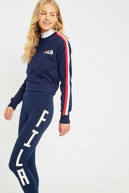 FILA Navy Logo Side Stripe Leggings