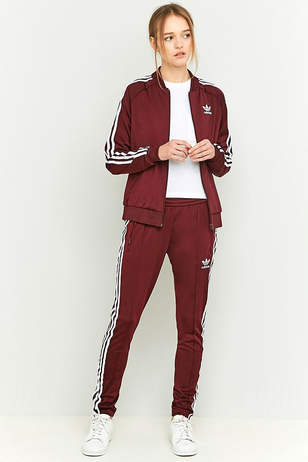 adidas Originals 3 Stripe Slim-Fit Maroon Tracksuit Bottoms  4bce177a67