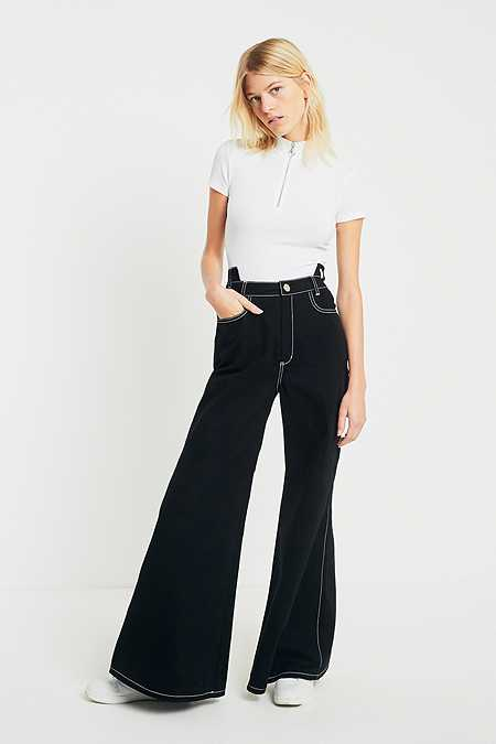 Fleamadonna Flared Contrast Stitch Trousers