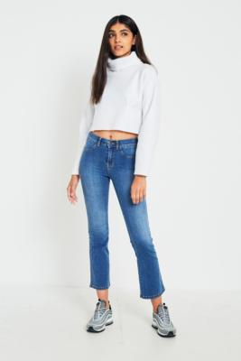 Dr Denim - Dr. Denim Holly Worn Mid Blue Cropped Flare Jeans, Blue