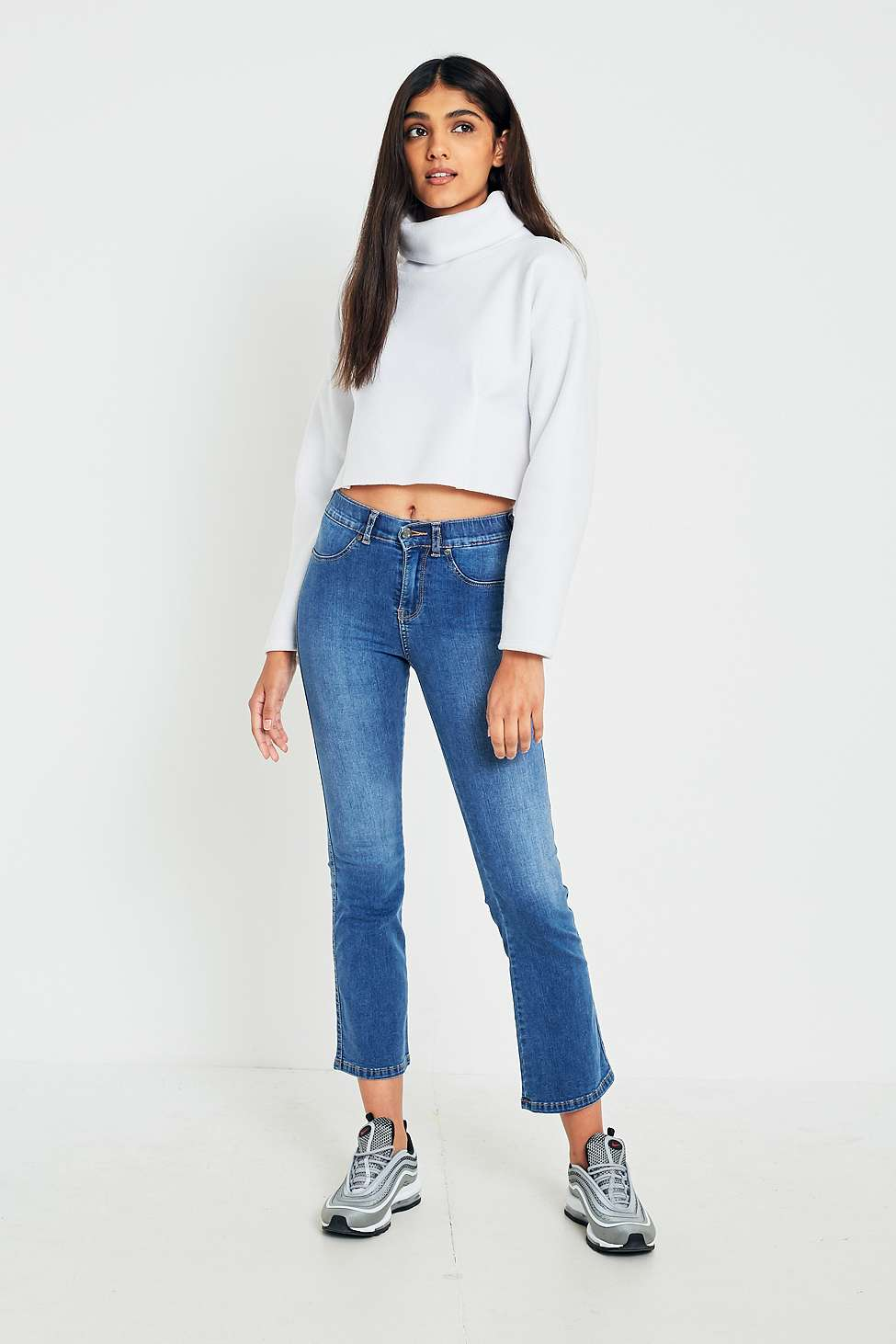 Dr. Denim Holly Worn Mid Blue Cropped Flare Jeans, Blue