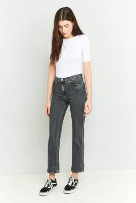 Calvin Klein High-Waisted Black Cropped Straight Leg Jeans, BLACK