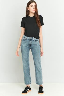 Calvin Klein High-Waisted Blue Cropped Straight Leg Jeans, BLUE