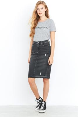 Calvin Klein Jeans Black Denim Pencil Midi Skirt, BLACK