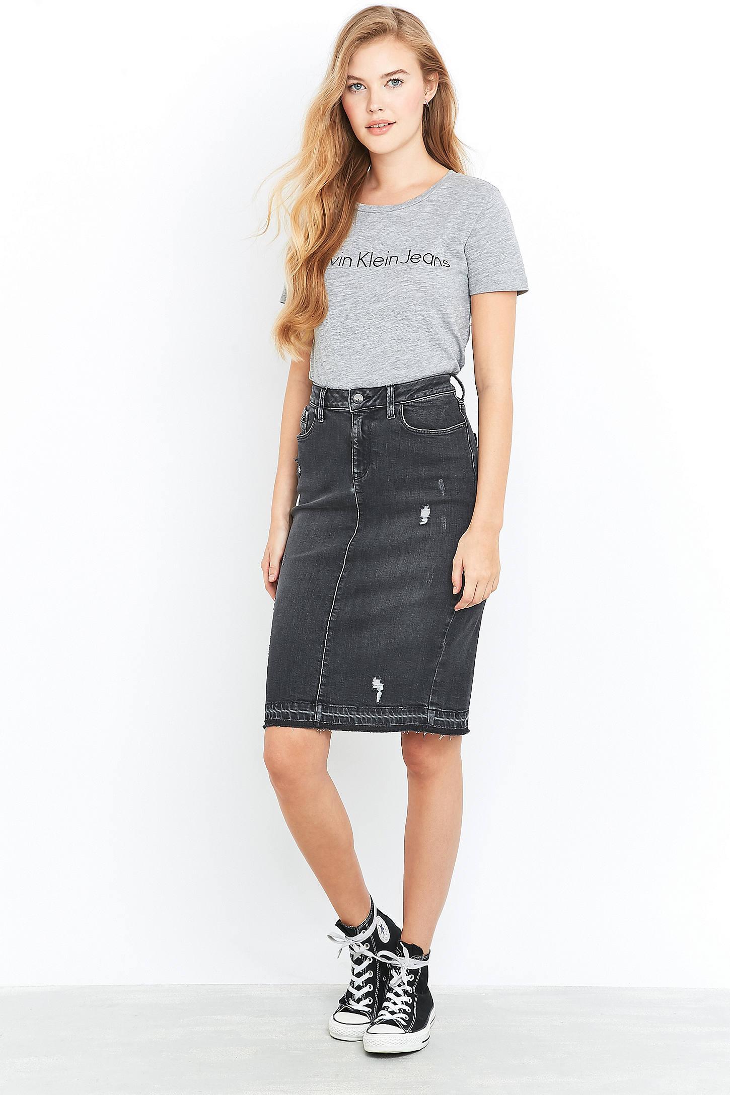 Black Denim Pencil Skirt - Dress Ala