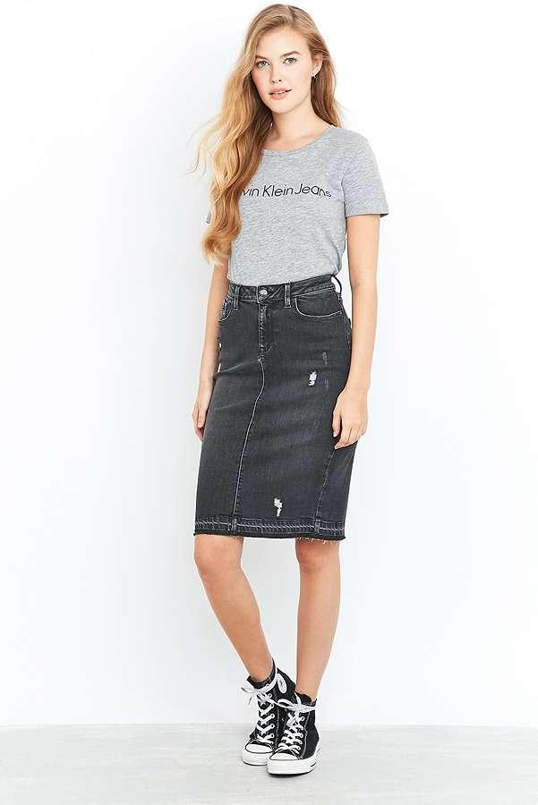 Calvin Klein Jeans Black Denim Pencil Midi Skirt | Urban Outfitters