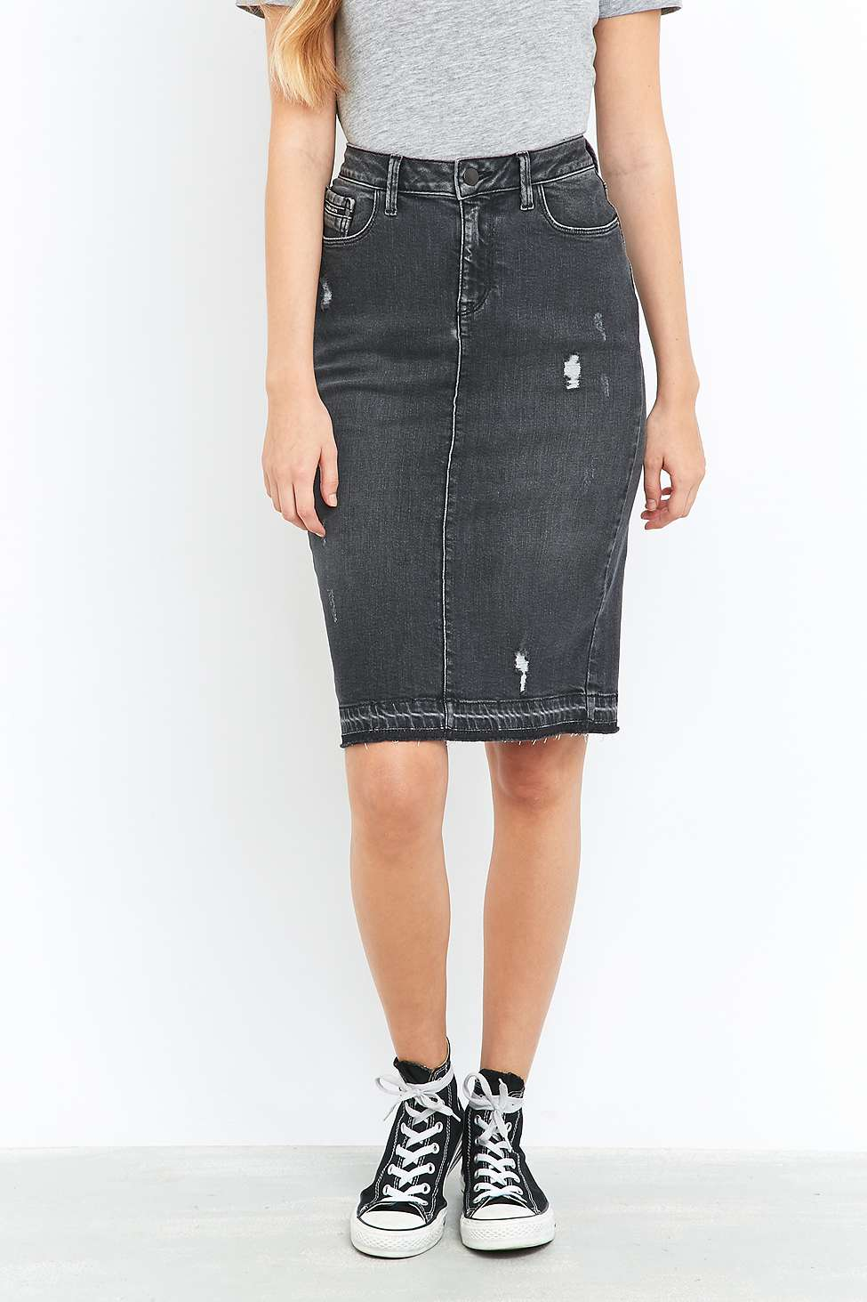 Calvin Klein Jeans Black Denim Pencil Midi Skirt | Urban Outfitters