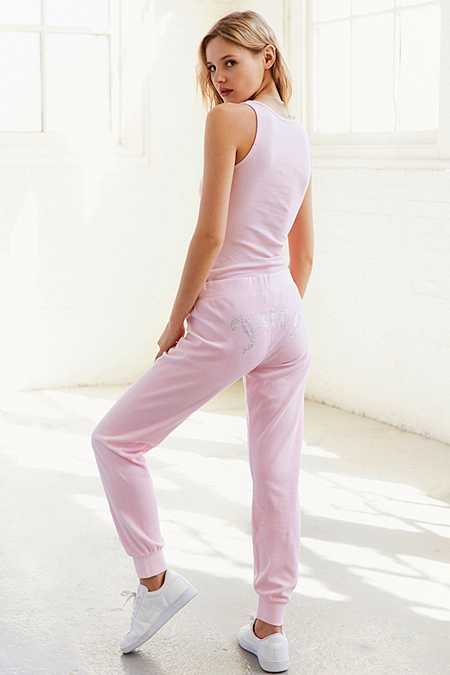 Slide View: 1: Juicy Couture – High-Rise-Trainingshose aus Velours in Rosa mit Strasslogo