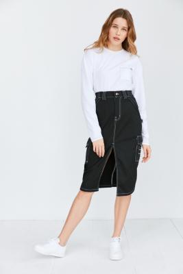 Dickies X UO Cargo Contrast-Stitch Midi Skirt, BLACK
