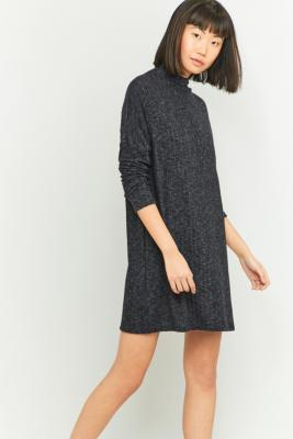 Urban Outfitters Cosy Black Ribbed Turtleneck Dress BLACK