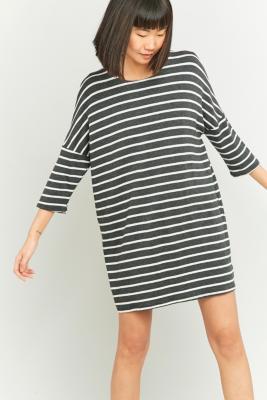 BDG Grey Breton Striped Tunic Dress Dark Grey