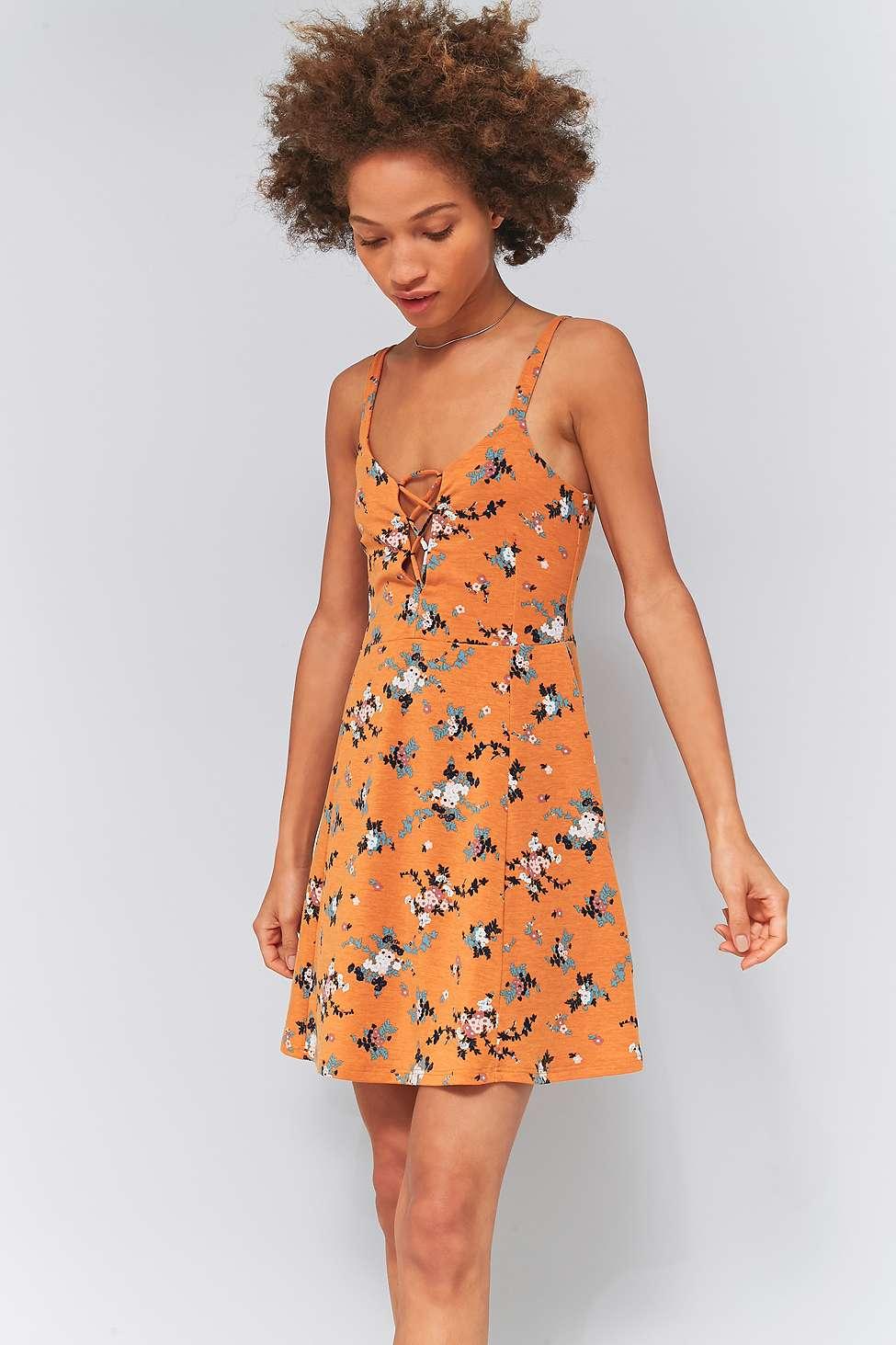 Pins  &  Needles Orange Floral Corset Flippy Dress, Beige