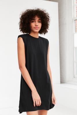 Silence + Noise - Silence + Noise Rolled Cuff Shoulder Pad Muscle Tee Dress, Black