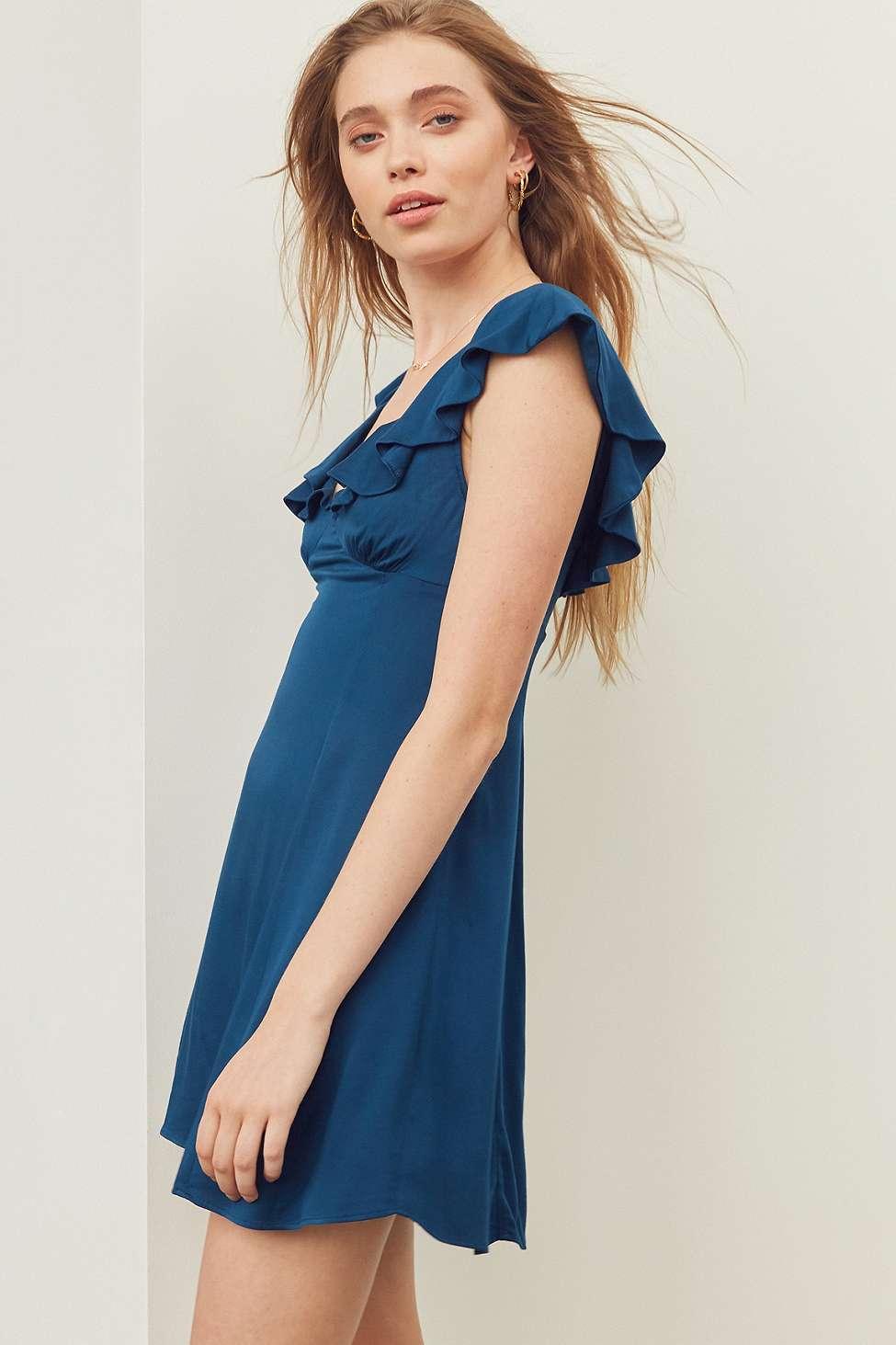 Kimchi Blue Daisy May Blue Ruffle Dress | Urban Outfitters