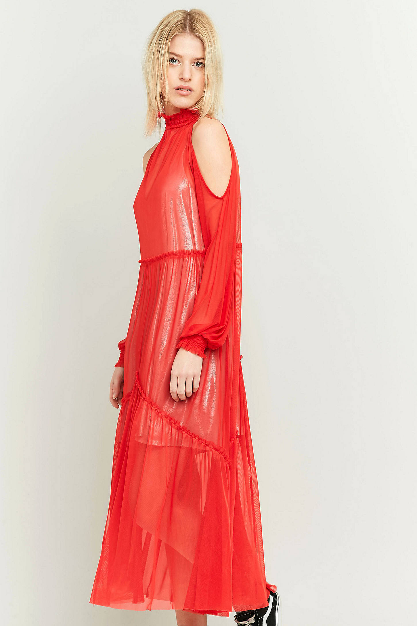 Pins & Needles Sheer Red Ruffle Maxi Dress | Urban Outfitters