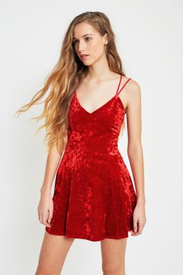 Pins and Needles - Pins  &  Needles Velvet Strappy Red Dress, Red