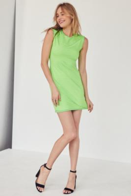 Silence + Noise - Silence + Noise Mindy Lindy Green Shadow Striped Muscle T-Shirt Dress, Lime