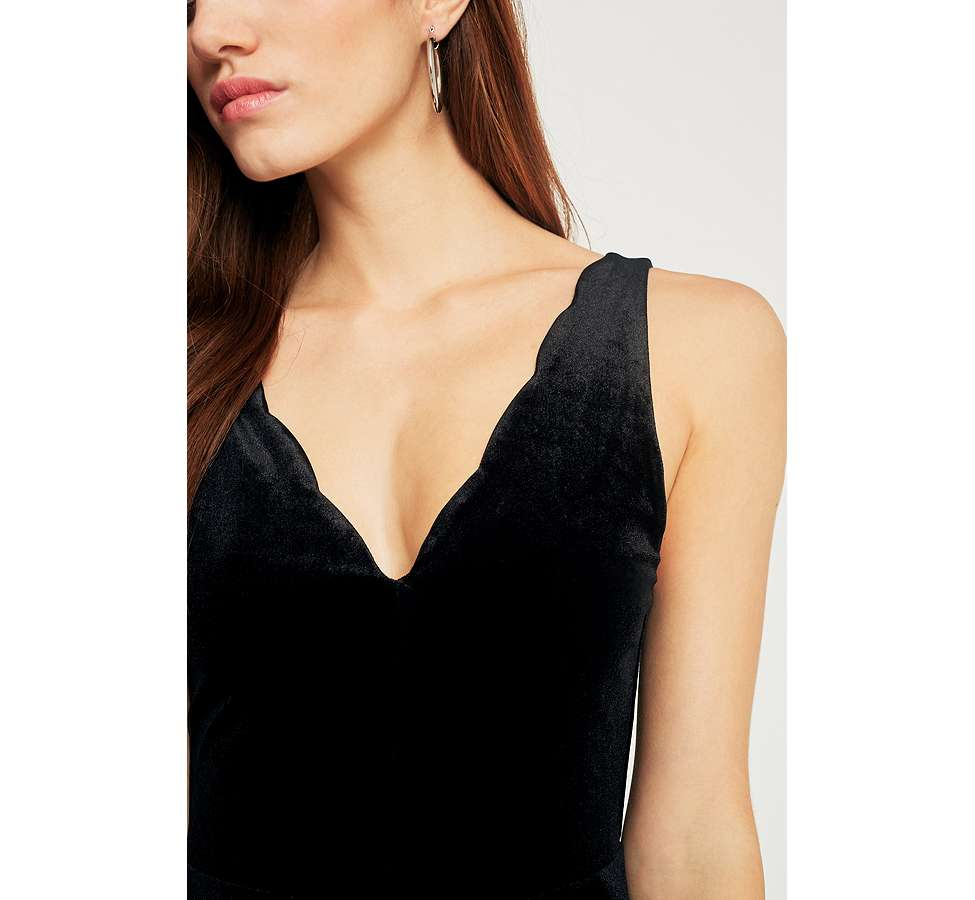 Slide View: 6: Pins & Needles Scallop Neck Velvet Playsuit