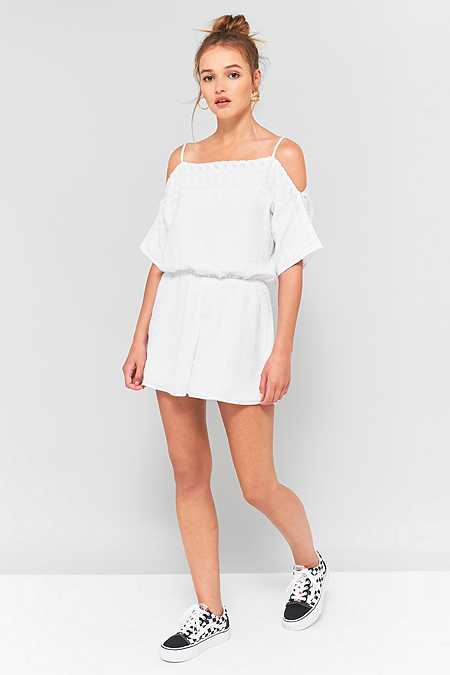 Staring At Stars Eyelet Embroidered Cold Shoulder Playsuit