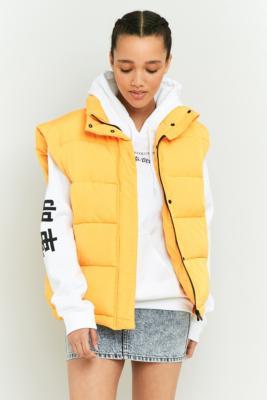 Light Before Dark Sleeveless Cropped Puffer Jacket Yellow