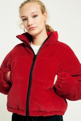 Light Before Dark - Light Before Dark Red Corduroy Cropped Puffer Jacket, Red