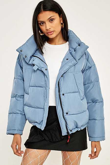 Image result for denim blue puffer jacket