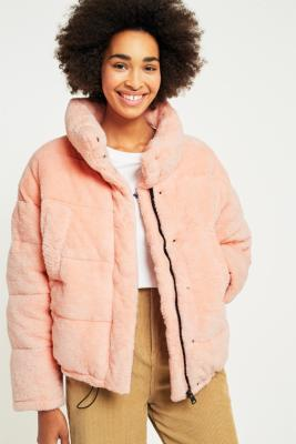 Light Before Dark Pink Teddy Puffer Jacket Urban Outfitters