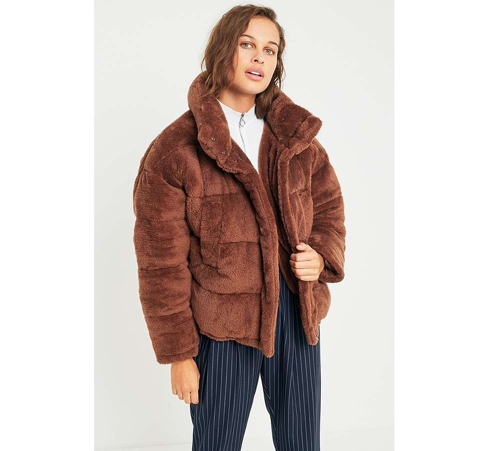 Slide View: 1: Light Before Dark Brown Teddy Puffer Jacket