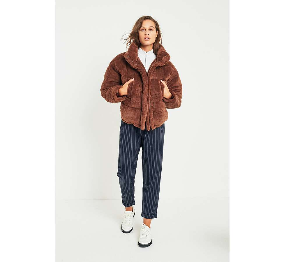 Slide View: 2: Light Before Dark Brown Teddy Puffer Jacket