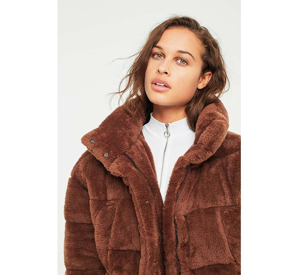 Slide View: 3: Light Before Dark Brown Teddy Puffer Jacket