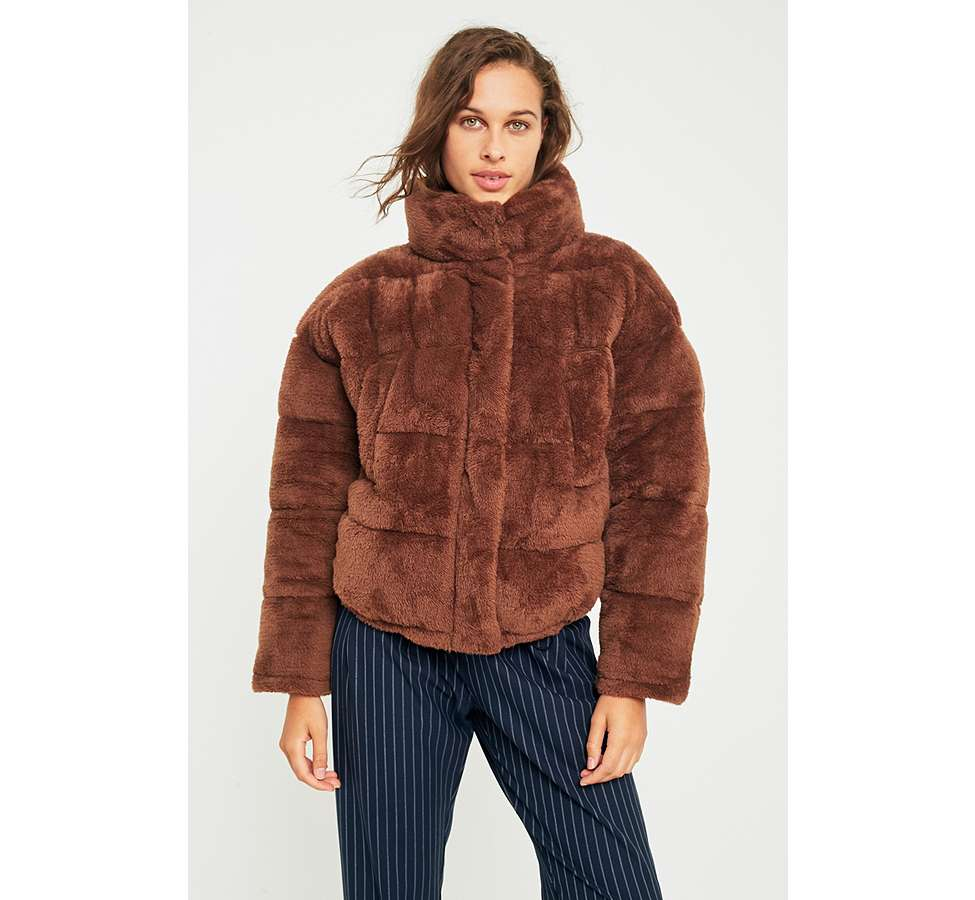 Slide View: 4: Light Before Dark Brown Teddy Puffer Jacket