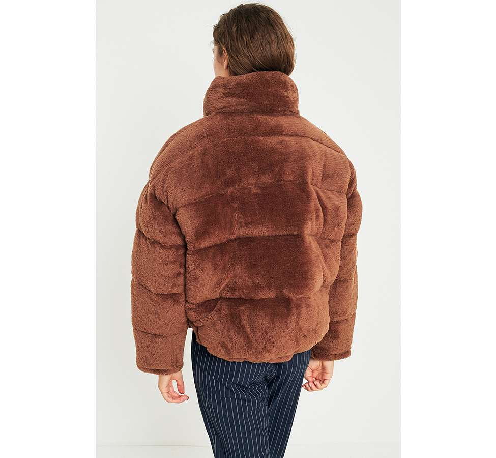 Slide View: 5: Light Before Dark Brown Teddy Puffer Jacket