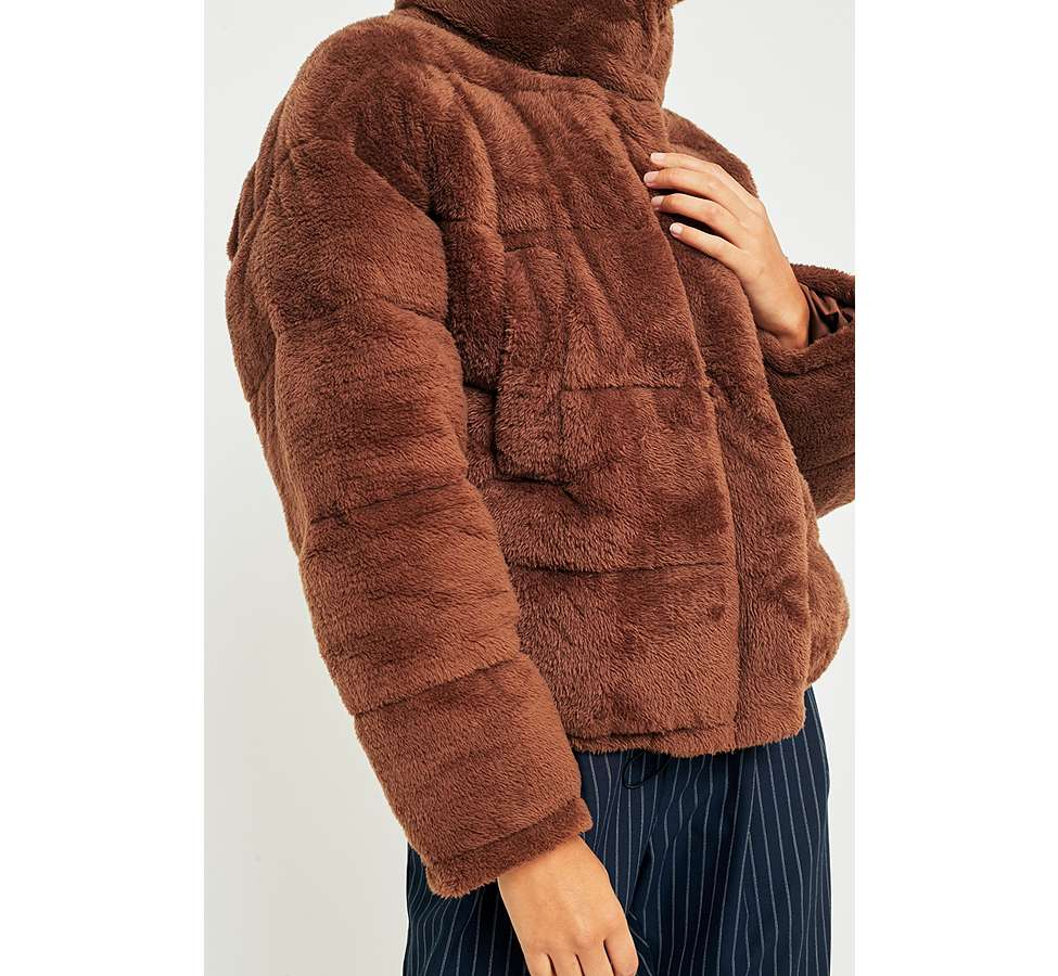Slide View: 6: Light Before Dark Brown Teddy Puffer Jacket
