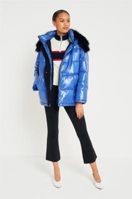 Light Before Dark - Light Before Dark Borg Lined Wet Look Puffer Jacket, Blue