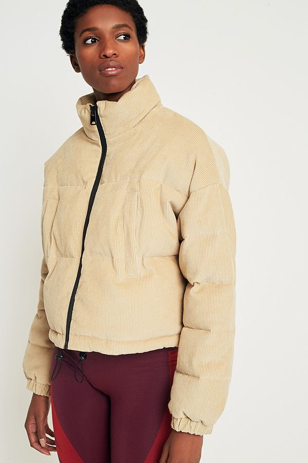 Light Before Dark Sand Corduroy Cropped Puffer Jacket