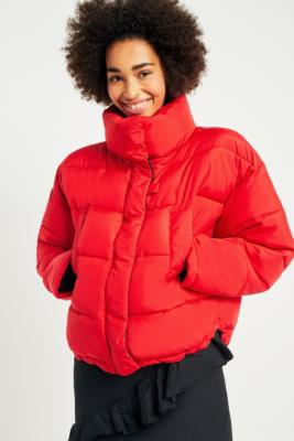 Light Before Dark Red Contrast Lining Pillow Puffer Jacket