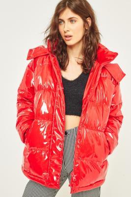 Light Before Dark Red Vinyl Hooded Puffer Jacket Urban