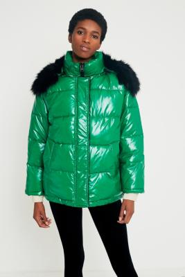 Light Before Dark - Light Before Dark Borg-Lined Green Wet Look Puffer Jacket, Green