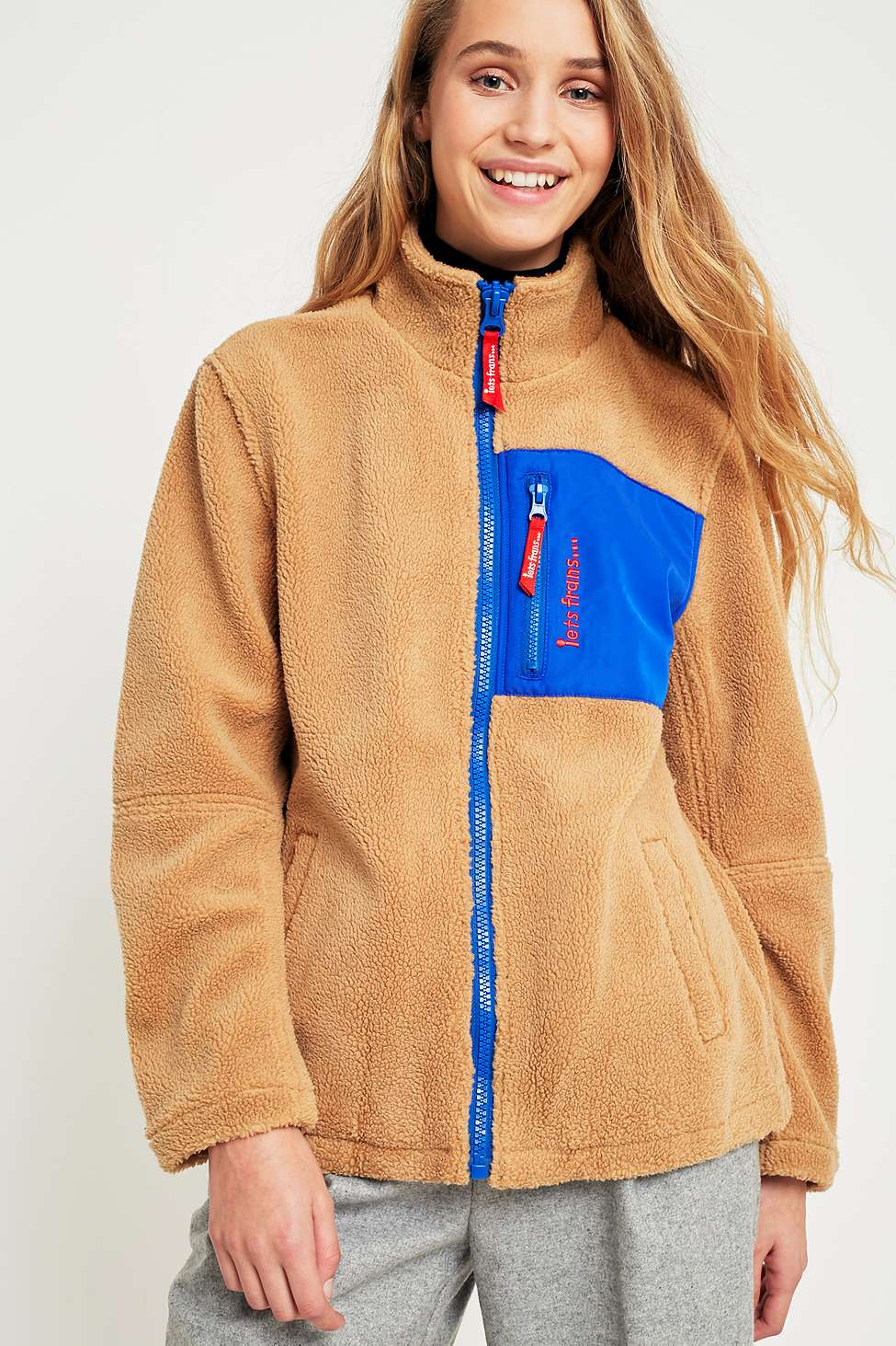 iets frans…  Fleece Zip-Through Jacket, Beige