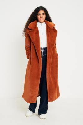 Light Before Dark - Light Before Dark Maxi Faux Fur Coat, Brown