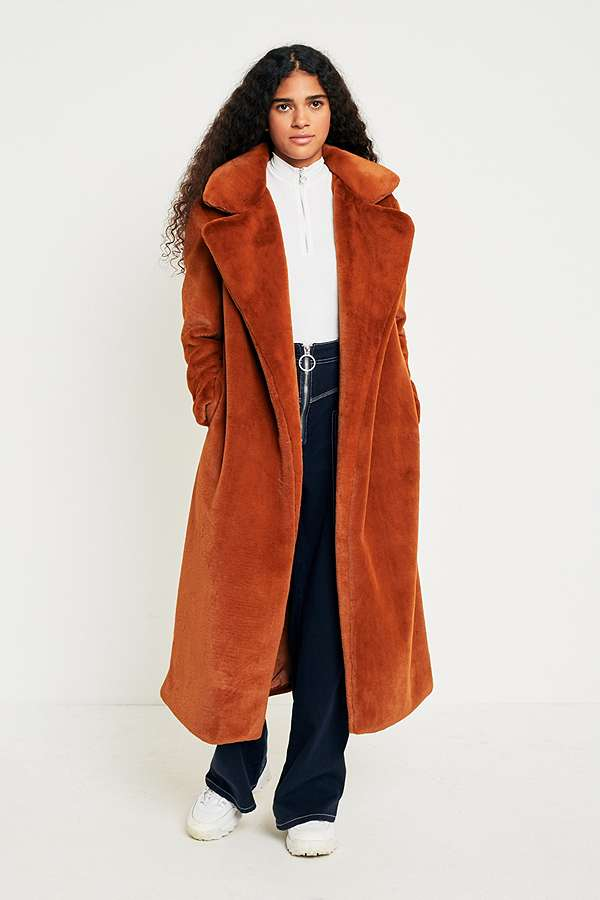 Light Before Dark Maxi Faux Fur Coat   Urban Outfitters