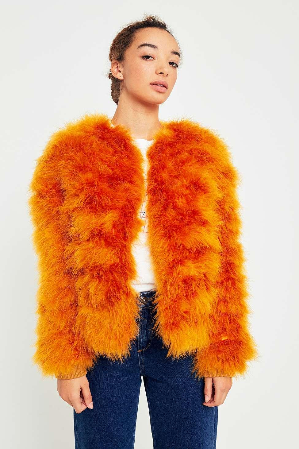 Light Before Dark Orange Marabou Faux Fur Jacket, Orange