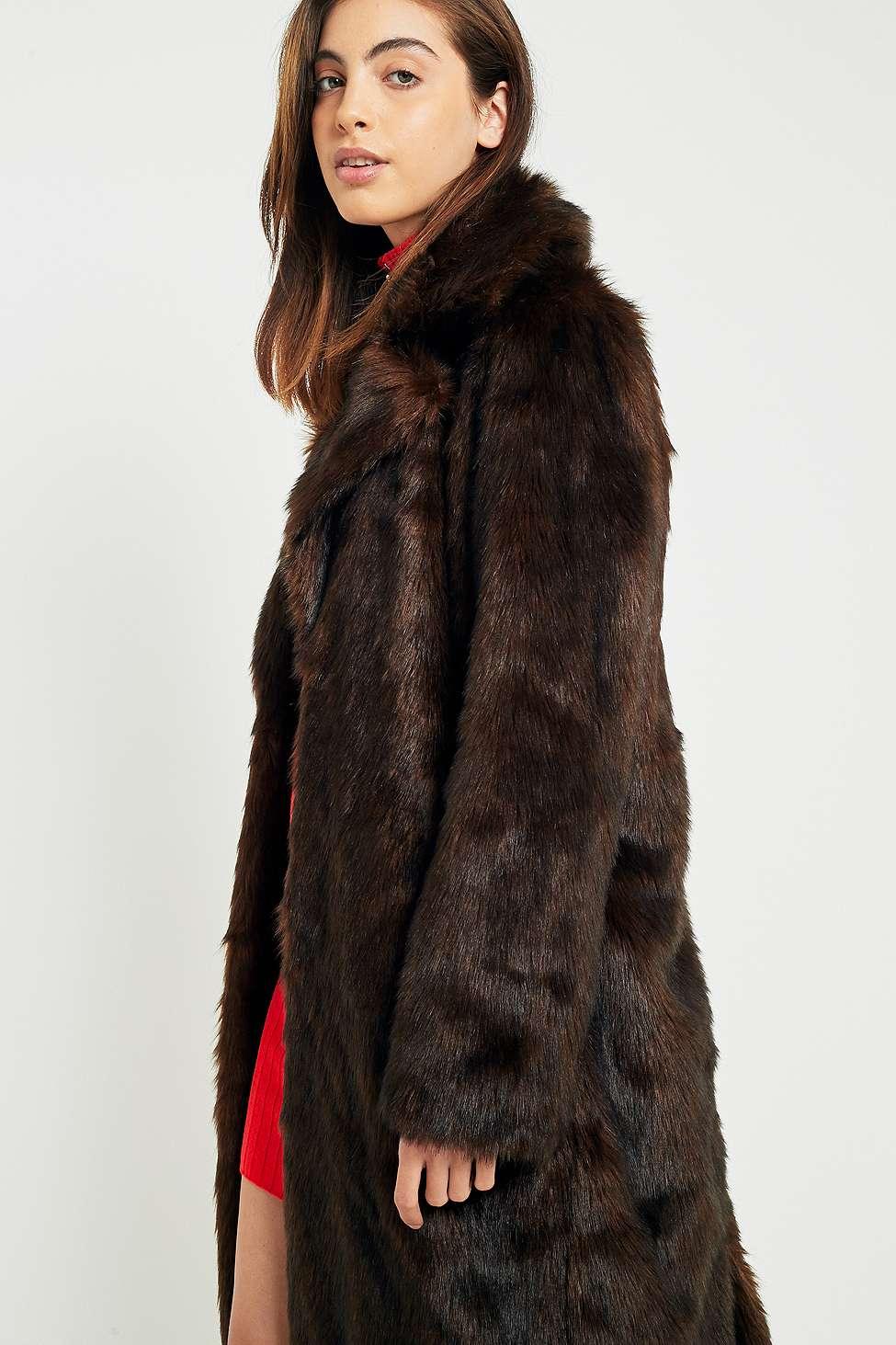 Light Before Dark Midi Chocolate Brown Faux Fur Coat | Urban ...