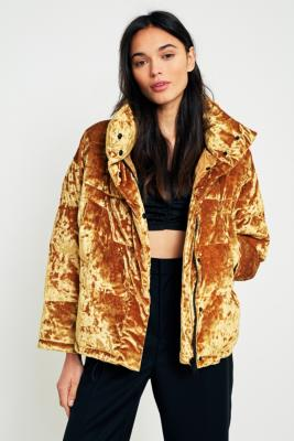 Light Before Dark - Light Before Dark Gold Velvet Pillow Puffer Jacket, Yellow