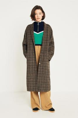 Light Before Dark - Light Before Dark Melton Checked Long Coat, Brown