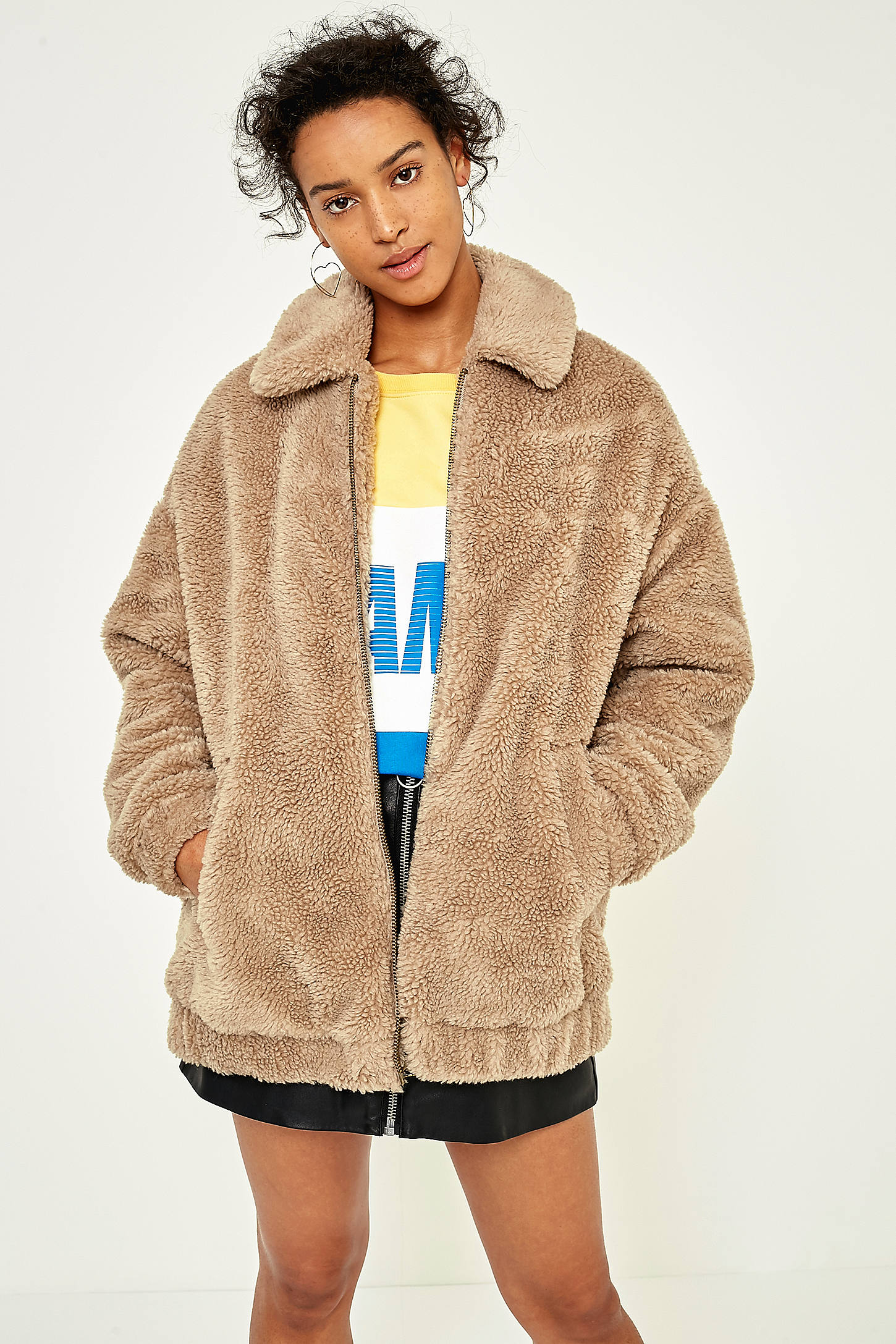 Light Before Dark Camel Teddy Zip Through Jacket Urban Outfitters Uk